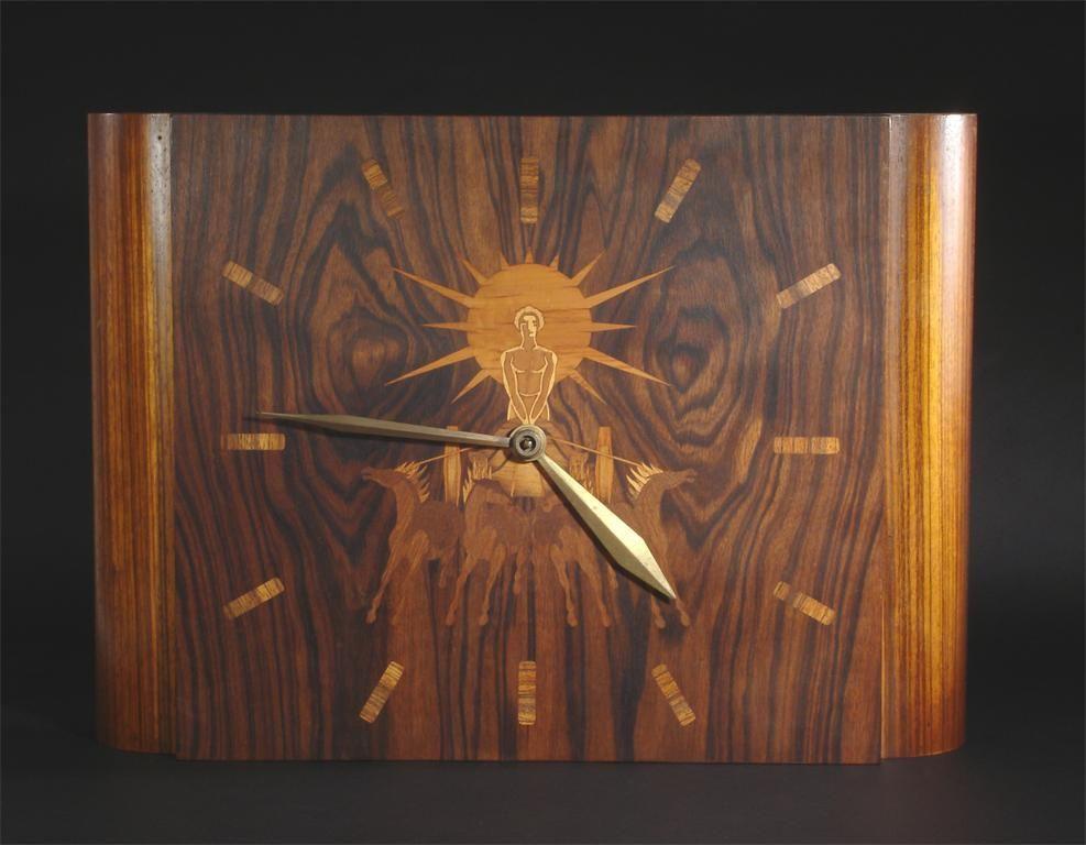Art Deco Myolby marquetry wall clock