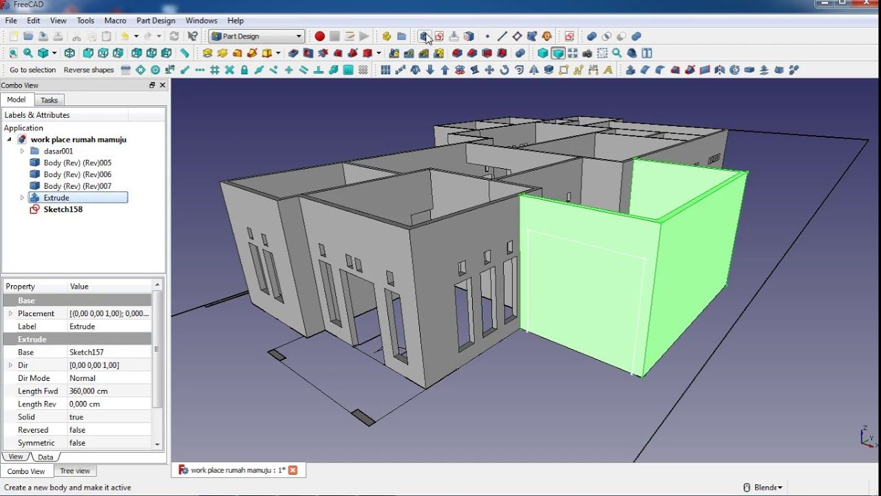make a house in freecad : tutorial part 4  roof modeling