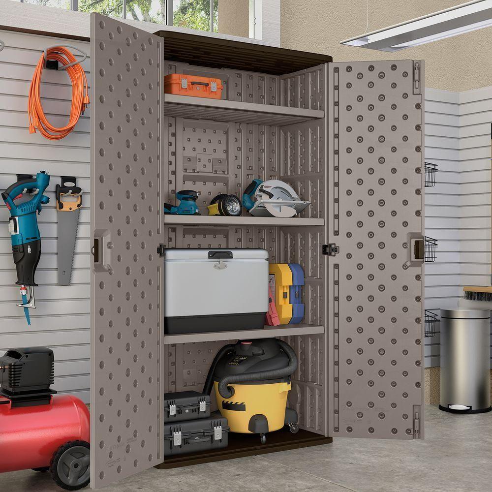 Suncast 40 In X 80 25 20 200 At Home Depot On Line 3 Shelf Resin Mega Tall Storage Cabinet Platinum Bmc8000 The