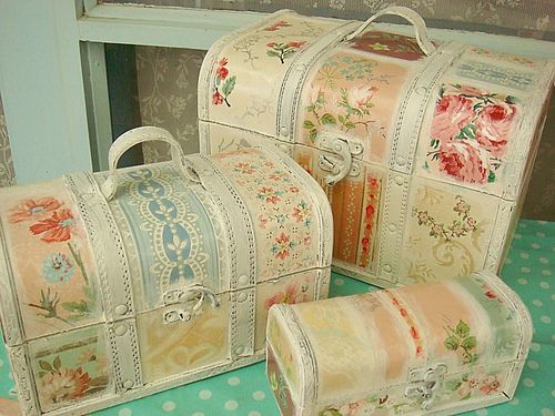 All sizes | Vintage wallpaper covered trunks | Flickr - Photo Sharing! on we heart it / visual bookmark #19683256