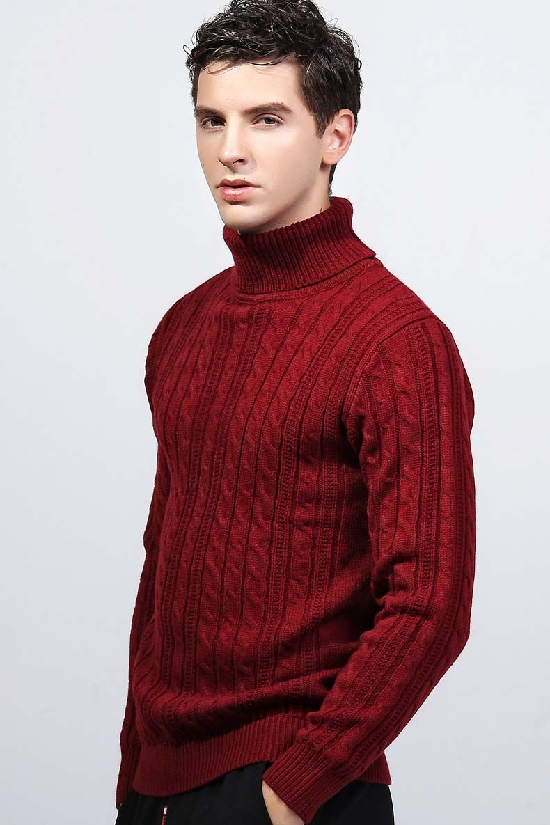 Red knit pattern high neck long sleeve sweater | Mens winter