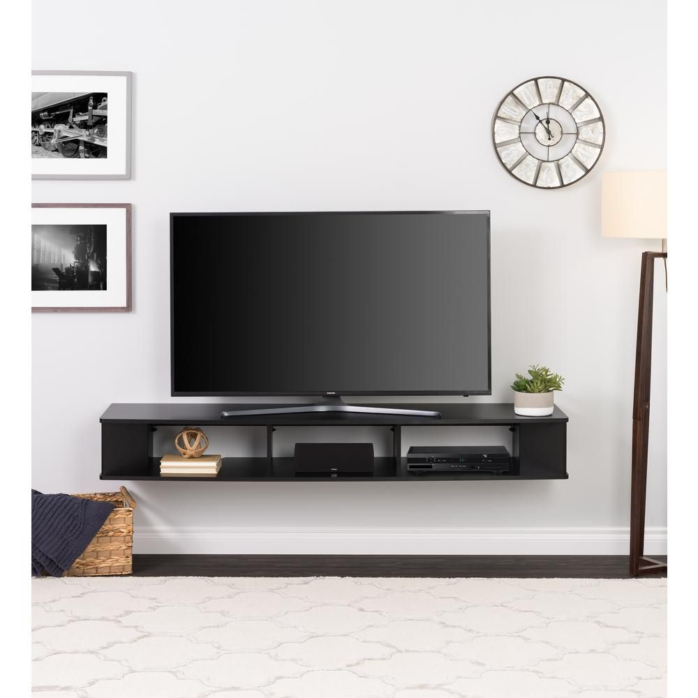 Prepac 70 In Black Composite Floating Tv Stand Fits Tvs Up To 75 In With Wall Mount Feature Bctw 1102 1 The Home Depot Living Room Tv Wall Mount Tv Stand Living Room Tv Wall