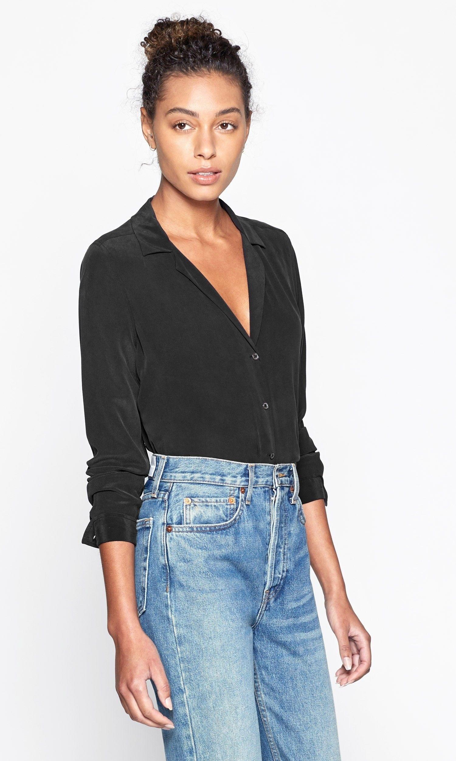 9719e9af3 Long sleeve adalyn silk shirt in 2019 | WhoWhatWear | Shirts, Silk ...