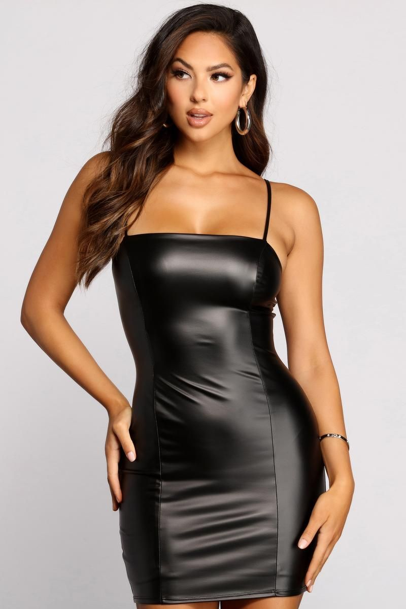 Sleek And Sultry Faux Leather Mini Dress In 2021 Leather Mini Dress Leather Dress Outfit Leather Dress Women [ 1200 x 800 Pixel ]