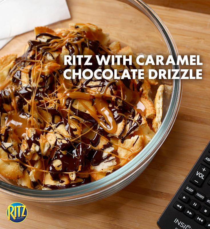 Movie night snack perfected! Break RITZ in half and drizzle with chocolate and caramel. Keep in the freezer to harden or pop in the oven for a toasty treat.