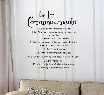 Amazon Com The 10 Commandments Vinyl Wall Art Inspirational Quotes And Saying Home Decor Decal Sticker H Art Quotes Inspirational Vinyl Quotes Vinyl Wall Art
