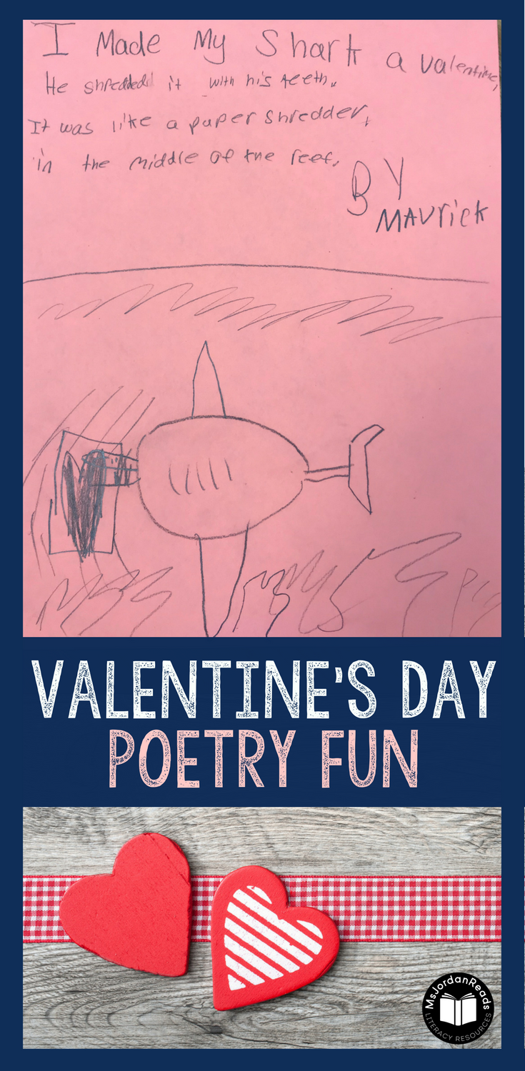 """Valentine's Day is the perfect opportunity for students to read silly poems and write their own! Using Jack Prelutsky's poem: """"I Made My Dog a Valentine,"""" students will enjoy writing their own versions of the poem!   Read more about this fun classroom activity on @msjordanreads blog!  via @msjordanreads"""