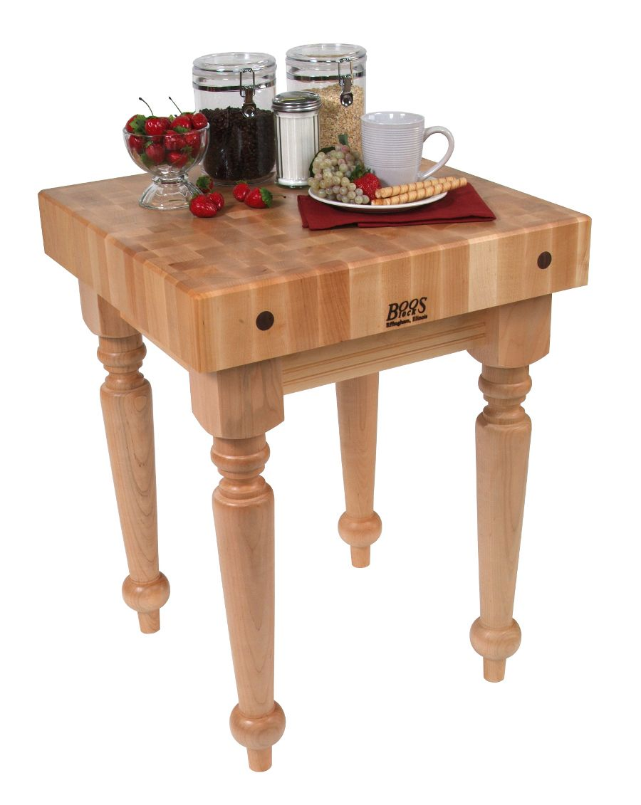 Made Of Solid Hard Maple, This Butcher Block Table Is Completed With A  Cream Finish. The John Boos Saratoga Farm Block Is Made Of Solid Maple And  Has A ...