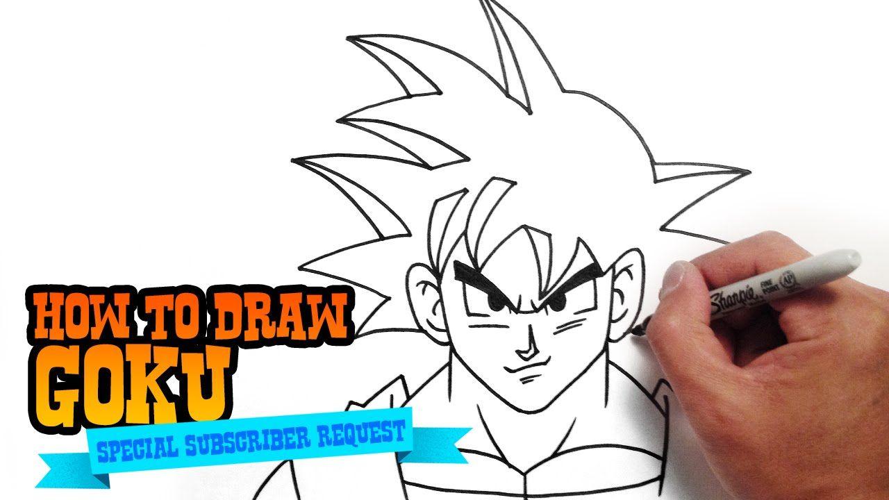 How To Draw Goku From Dragon Ball Step By Step Video Goku Drawing Goku Anime Drawings