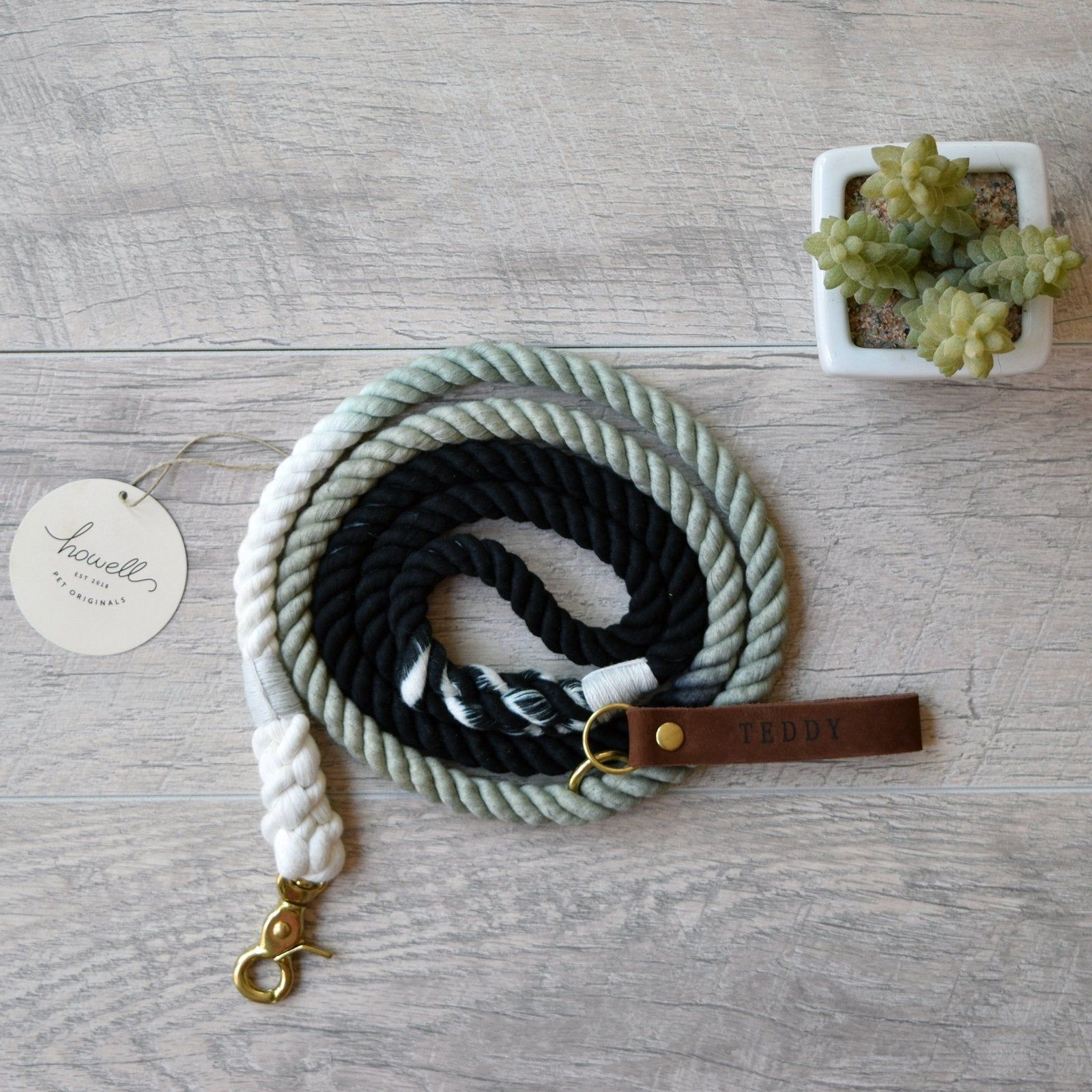 Black Ombre Cotton Rope Dog Leash Black Ombre Dyed Cotton Dog Leash Nautical Style Rope Dog Leash and Dog Lead
