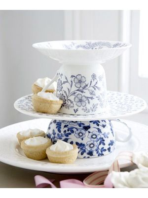 Make a cake stand from some teacups & saucers & plates, love