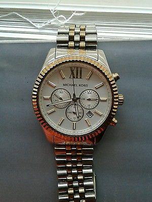 8a0247bc268e NEW Michael Kors MK8344 Lexington Two Tone Silver Gold Mens Watch ...