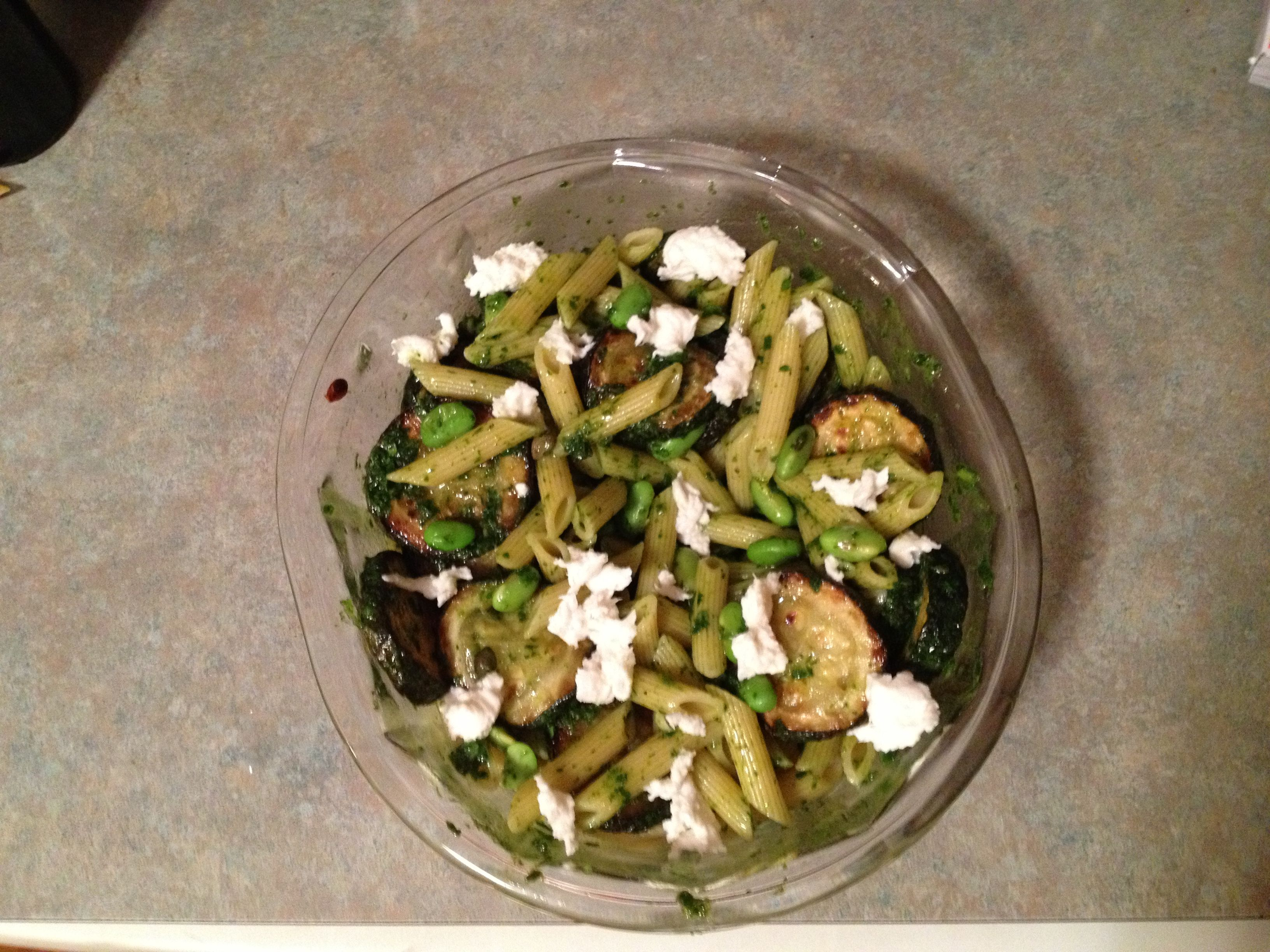 """Pasta and Fried Zucchini Salad"" from the cookbook Plenty by Yotam Ottolenghi.    Highly recommend trying this recipe if you like zucchini and edamame!  http://meredithbythelake.blogspot.com"