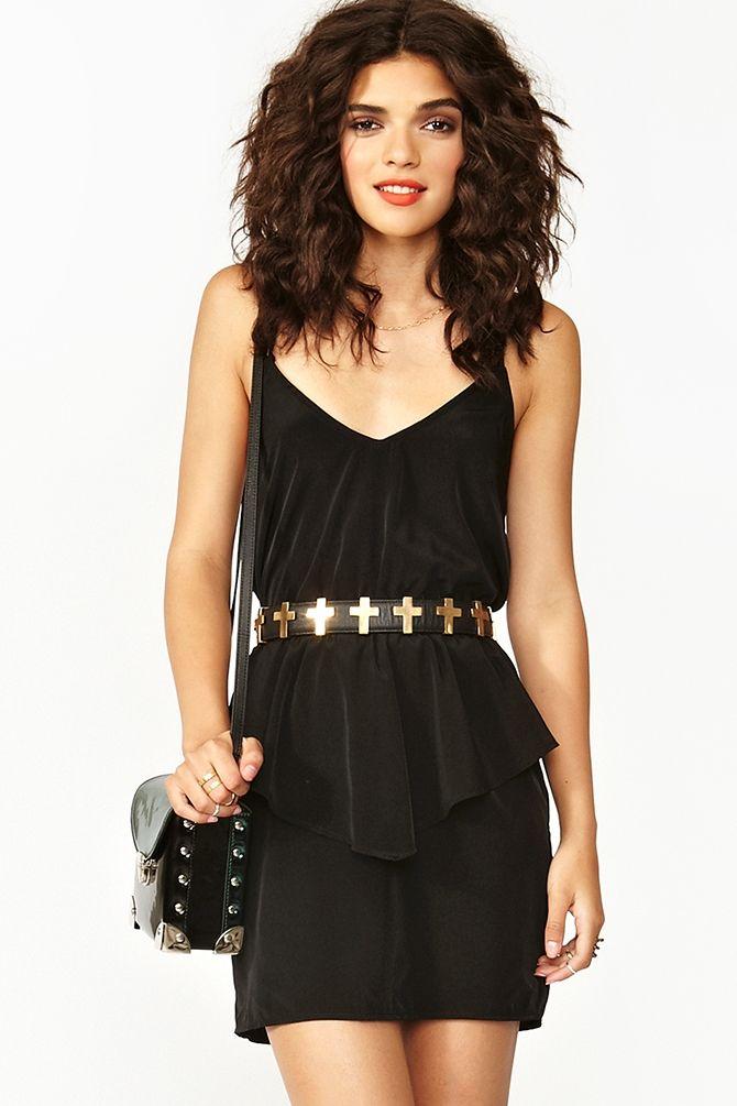 Twisted Peplum Dress in Black - $48 at Nasty Gal