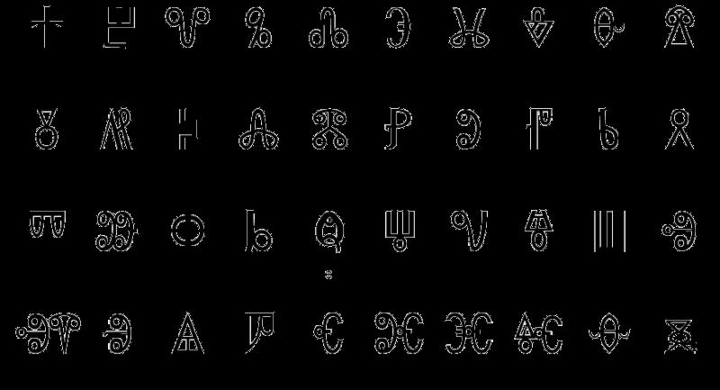 Symbols For Letters Alphabets: Antic Roman Alphabet