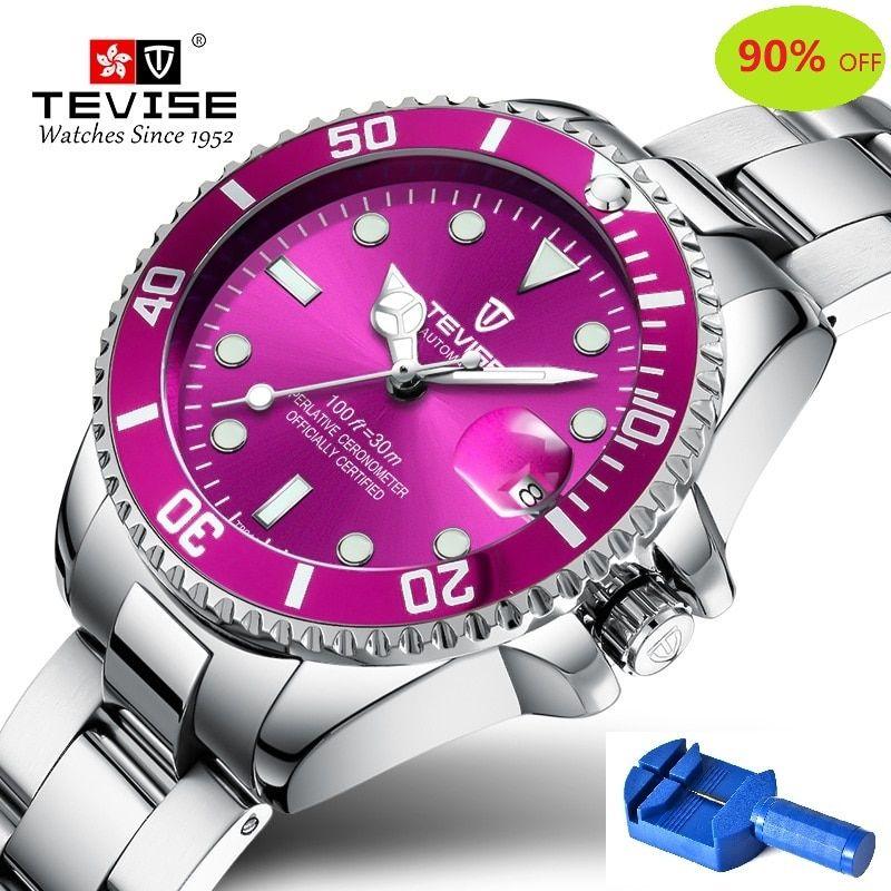 Quartz Watch Women TEVISE T801 Women Watch Stainless Steel