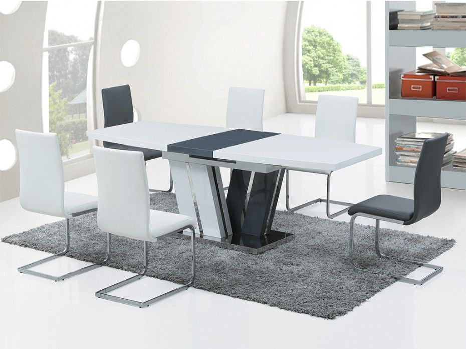 Table A Manger Extensible Naomi 6 A 8 Couverts Mdf Laque Gris Blanc Table A Manger Extensible Table A Manger Table Salle A Manger