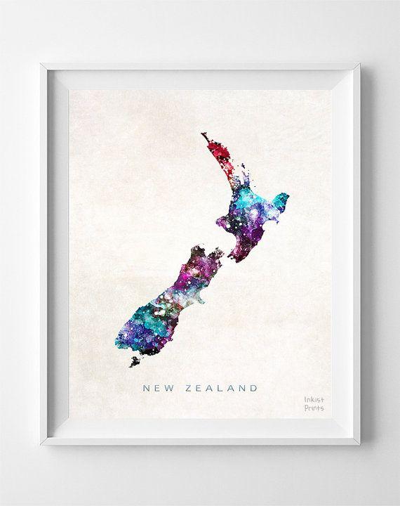 Map Of New Zealand Wellington.New Zealand Map Print Wellington Print New Zealand By Inkistprints