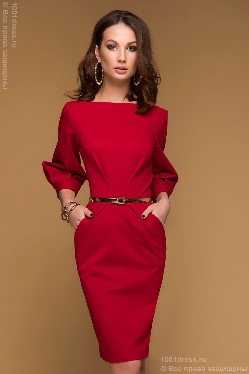 Купить красное платье длины мини с рукавом в интернетмагазине