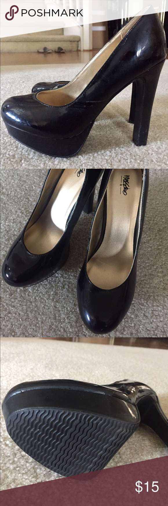 Black Patent Pumps Cute black high heeled pumps! Never worn, but for some reason has minimal scuffs (please see photo). Maybe from storing with my other shoes. Other than that, they are in great condition. Almost like new! Shoes Platforms