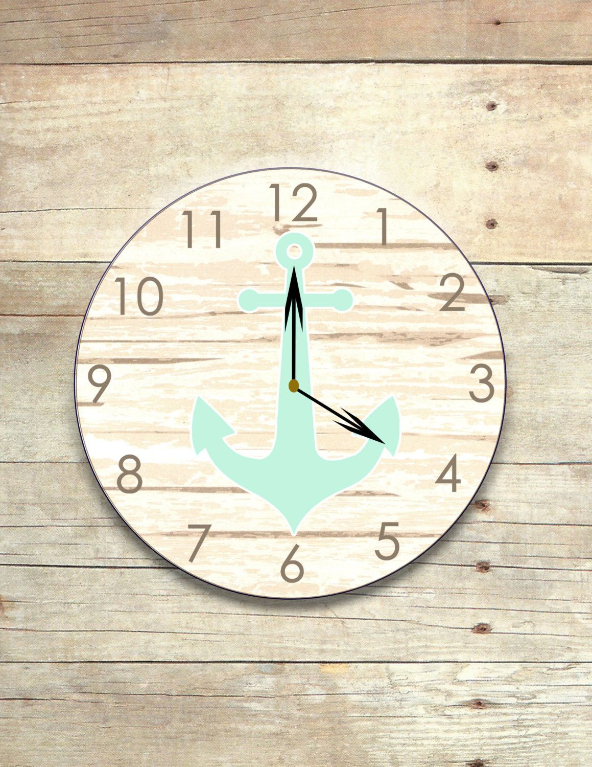 Round anchor wall clock wood face anchor decorations pinterest round anchor wall clock wood face amipublicfo Images