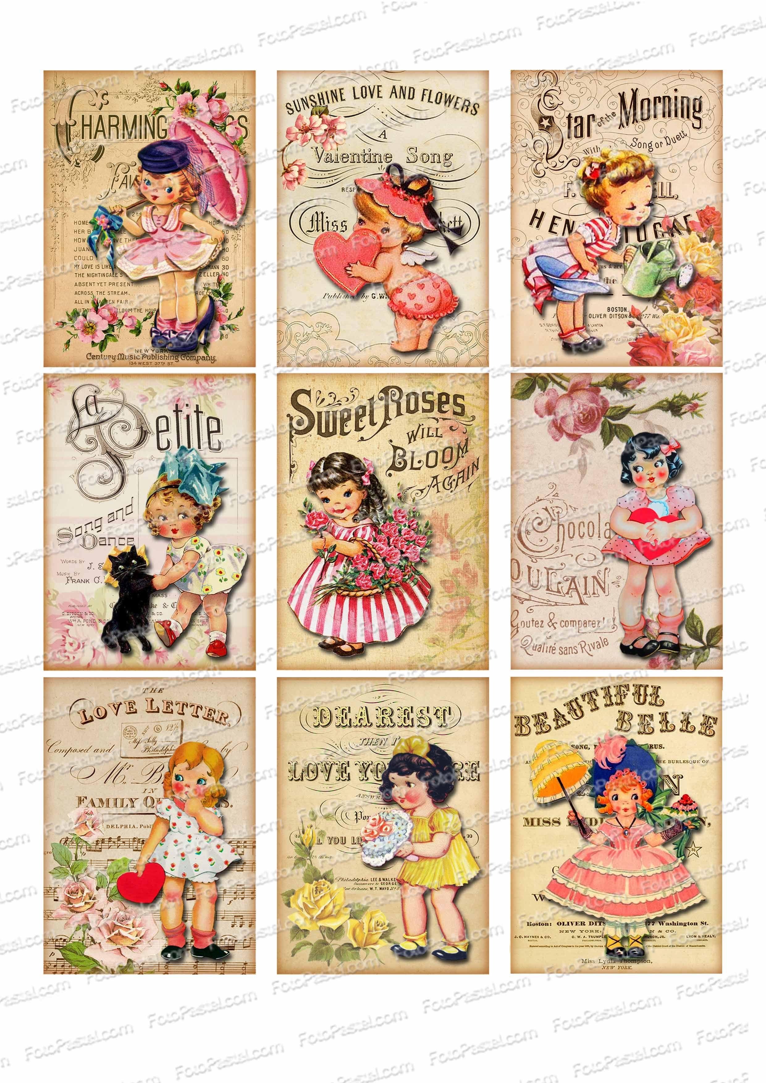 Vintage 10- 1 hoja con 9 rectangulos impresos. #galletas # ...