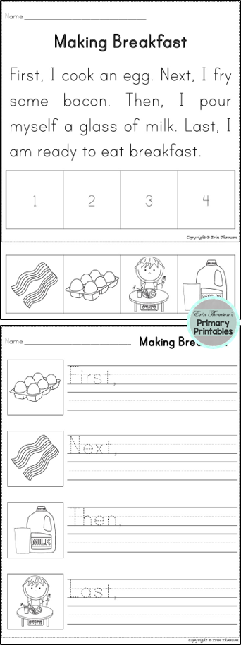 Students Will Sequence Using The Words First Next Then And Last Includes Stories And Writing P Kindergarten Writing 1st Grade Writing Sequencing Worksheets