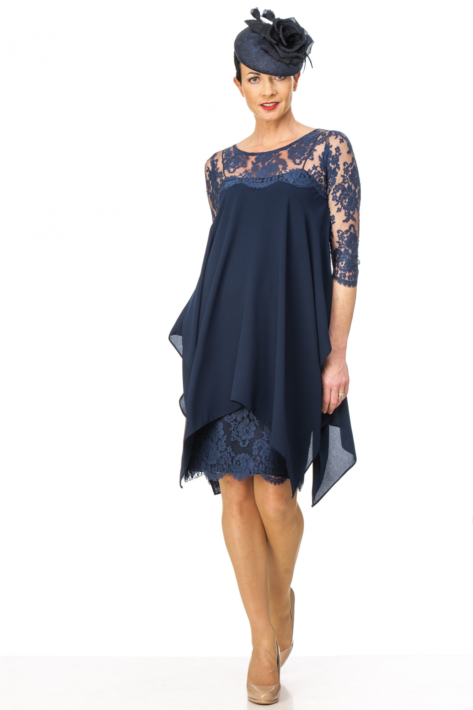 Navy crepe and lace dress | Stuff to buy | Pinterest | Wrap coat ...