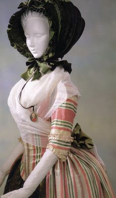 1780 Robe a l'Anglaise. White, Pink, Green striped silk satin. From the Kyoto Costume Institute