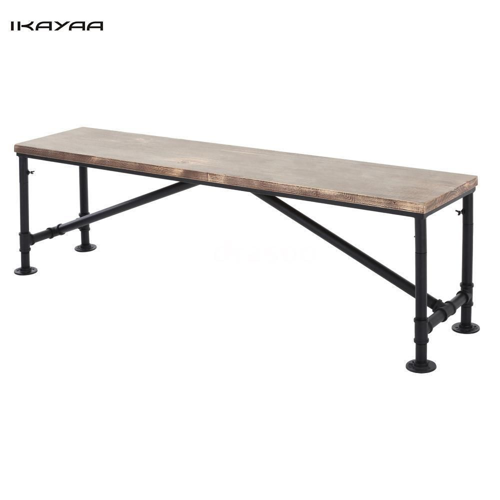 Vintage Industrial Style Wood Metal Frame Patio Kitchen Dining Bench ...