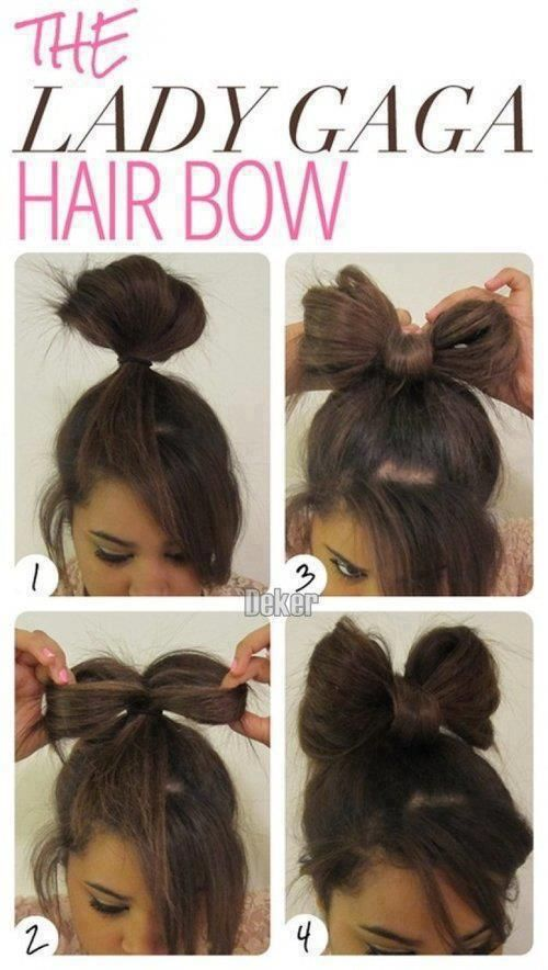Lady Gaga Hair Bow Tutorial Step By Step Good For Last Minute Hairstyles Hair Styles Lady Gaga Hair Bow Hairstyle