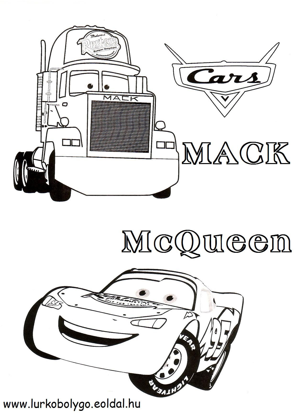 Disney Mack And Mcqueen Coloring Pages