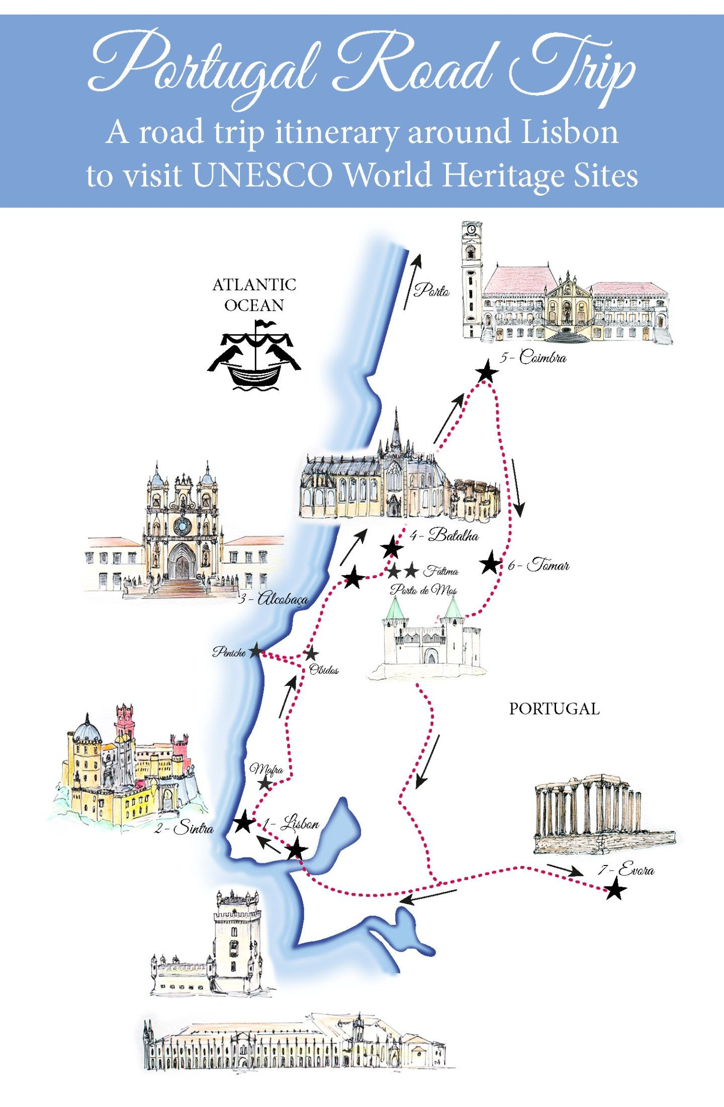 Portugal Road Trip Map: a Road Trip Itinerary around Lisbon | cyprus ...