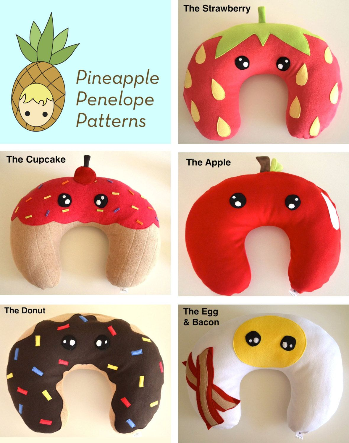 Tasty Treats Nursing Pillow Cover 5 option pack PDF pattern Instant ...
