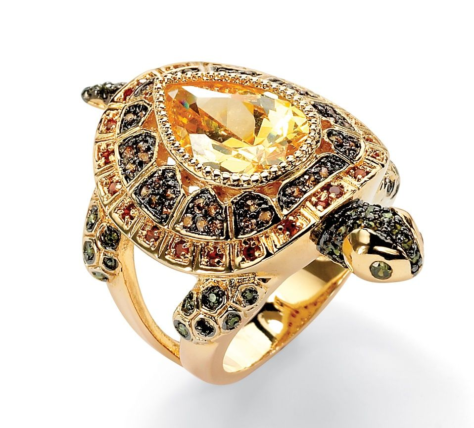 14k Gold-Plated Multi-Colored DiamonUltra™ Cubic Zirconia Turtle Ring  So cute!