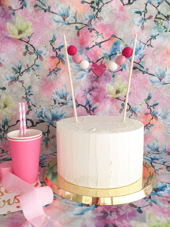 Glitter heart felt ball cake topper wedding cake topper