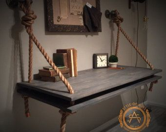 New Industrial Rope Pipe Suspended Wood Wall Mounted Standing Computer Desk Floating Shelf By StyleOfAges