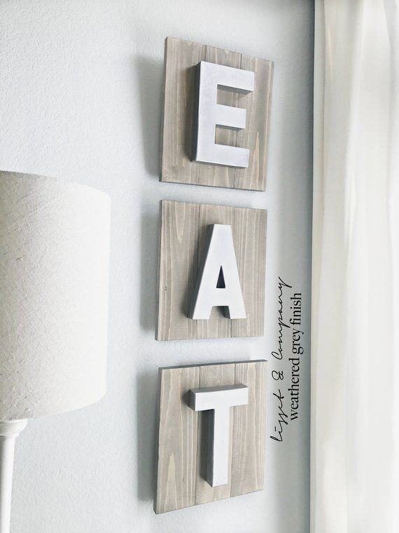 eat sign; kitchen sign; wood sign; rustic eat sign; eat letters; eat