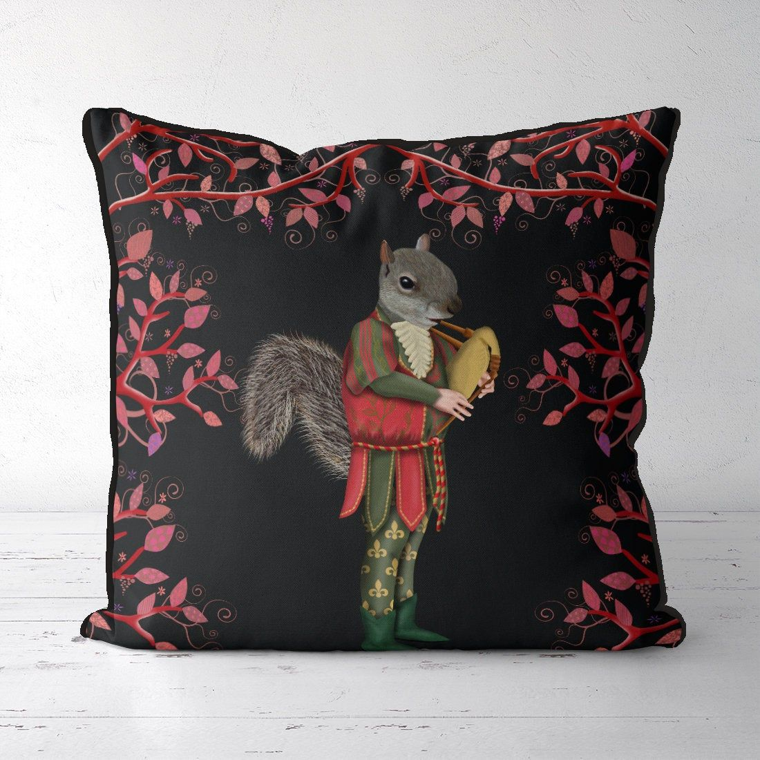 Squirrel gift Woodland pillow black pillow nursery decor Woodland print country home Squirrel minstrel Animal print cushion bedroom throw