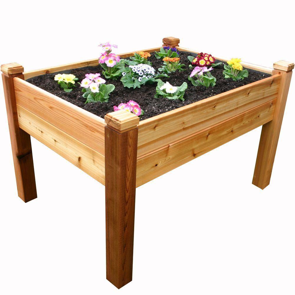 Natural Cedar Raised Garden Beds: 4 Ft. X 3 Ft. Cedar Elevated Garden Bed, Natural Wood