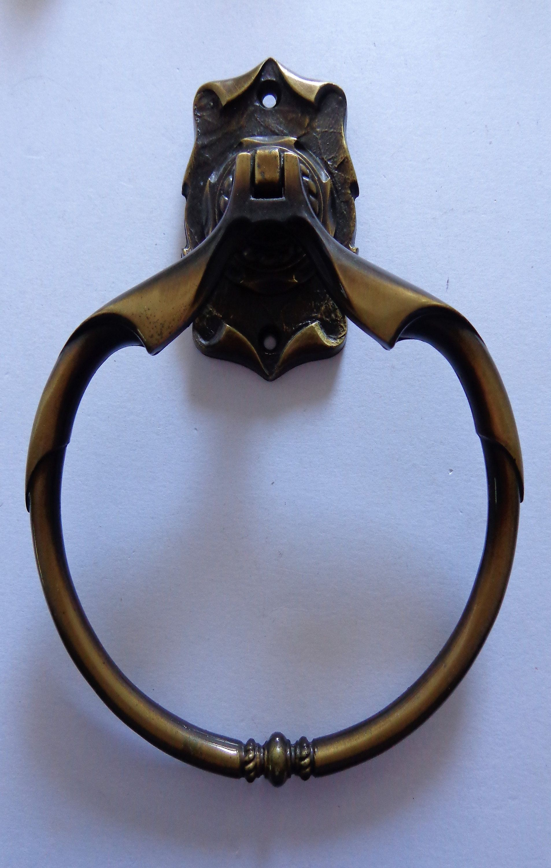 Antique Brass Towel Ring Holder Carriage House Wall Mount Etsy Towel Rings Antique Brass Ring Holder