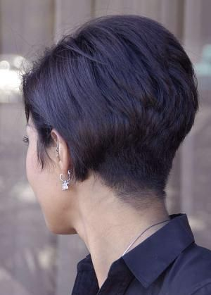 Back View Of Pixie Haircut Pixie Hairstyles For Black Women Hairstyles Weekly Short Stacked Hair Stacked Hairstyles Short Hair Styles