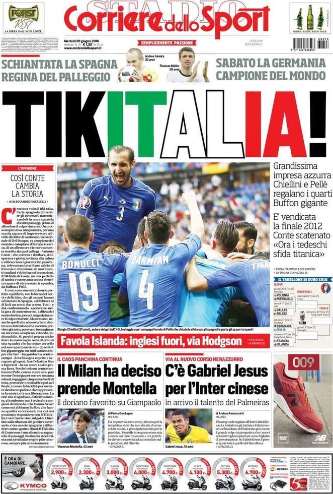 Prima Pagina Corriere dello Sport 28/06/2016 Sport