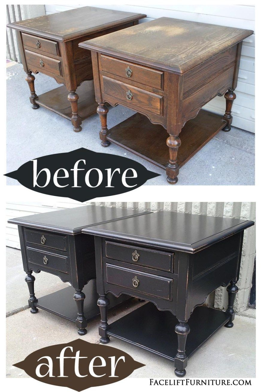 Oak End Tables in Distressed Black Before After Black Paint
