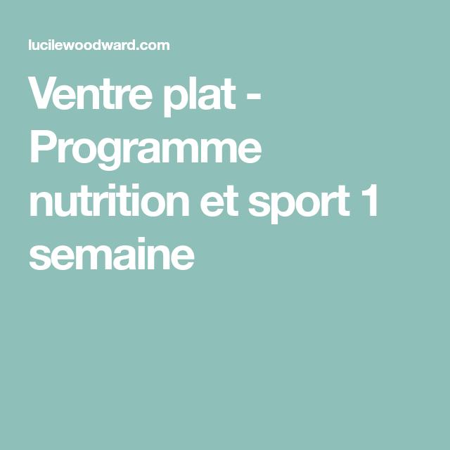 Ventre plat - Programme nutrition et sport 1 semaine