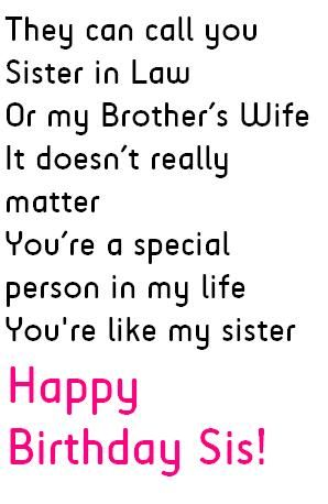 Sister In Law Birthday Quotes Wishes And Messages Sister In Law