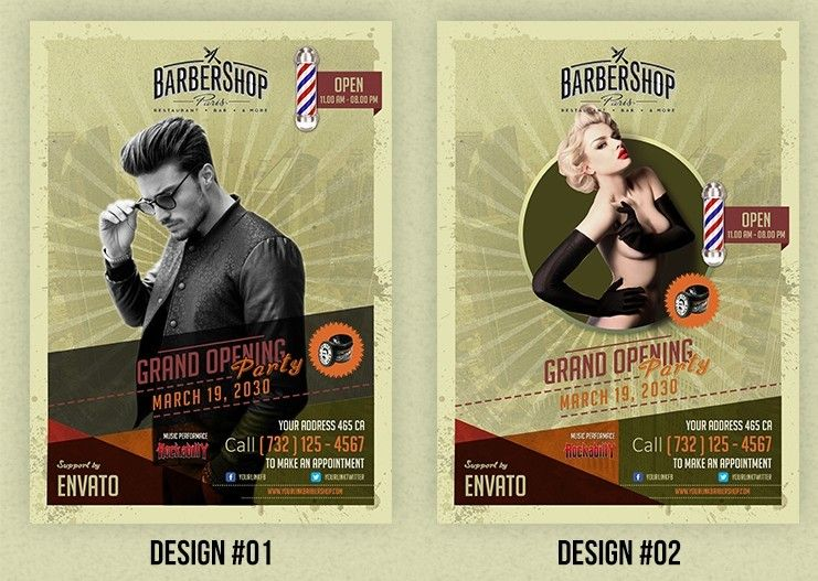 Barbershop Retro Flyer Template  Print Design    Flyer