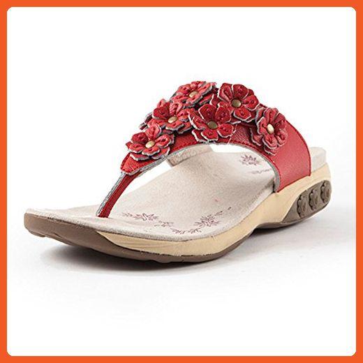 5a99e46239ec Therafit Shoe Women s Flora Leather Walking Sandal 8 Red - Sandals for women  ( Amazon Partner-Link)