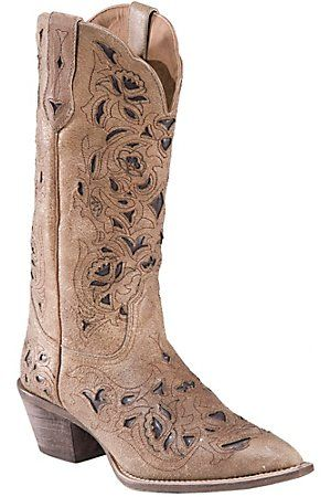Laredo Ladies Distressed Tan w/ Chocolate Brown Inlay Pointed Toe Western Boots--hmmm tempting and great price!