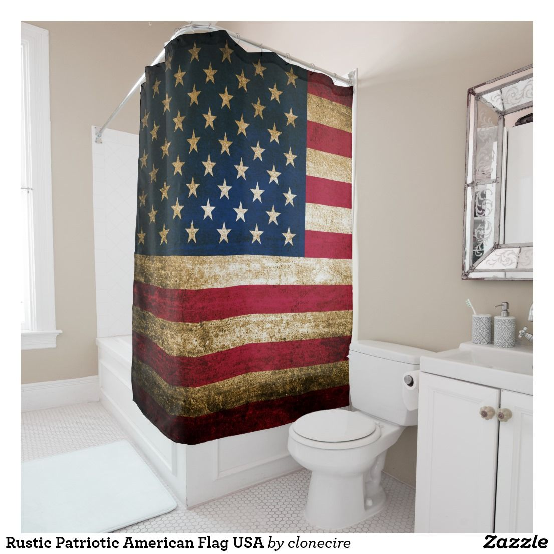 Exceptionnel Rustic Patriotic American Flag USA Shower Curtain